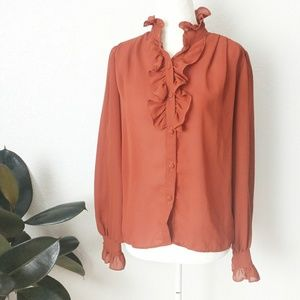 70-80s Vintage Ruffle Neck Button Down Blouse Sm